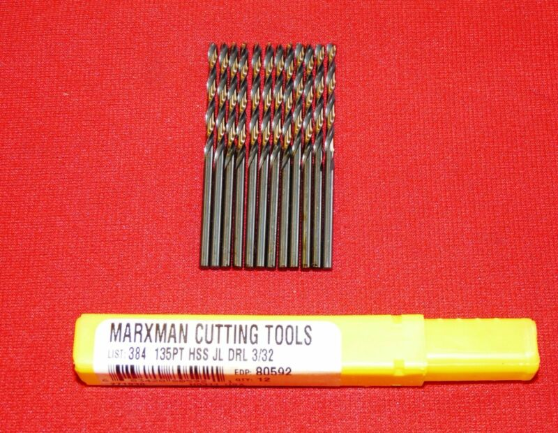 "Morse 80592 3/32"" Marxman Jobber Length Drill Bit USA Made LOT OF 12 Black &Gold"