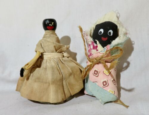 """2 doll lot: Vintage dinner bell  & baby wrapped in blanket dolls, 4"""" tall"""