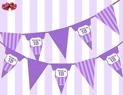 13th Birthday Party Themes (Pretty Purple Happy 13th Birthday Vintage Polka Dots Theme Bunting Banner)