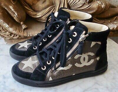 COCO CHANEL Suede & Metallic High Top Sneakers ~ 35 (US-5, UK-3)j