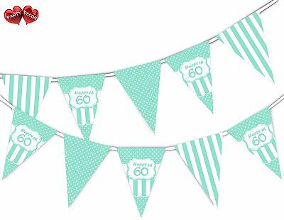 Happy 60th Mint Happy Birthday Anniversary Themed Bunting Banner by PARTY