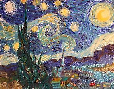 "Kunst Ölgemälde ""Die Sternennacht"" Repro van Gogh Gemälde Malerei Ölbild"