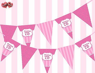 Perfect Pink Happy 75th Birthday Vintage Polka Dots Stripes Theme Bunting Banner - Happy 75th Birthday Banner