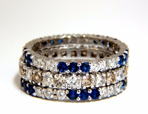 3.20ct Stackable Natural Blue Sapphires & Fancy Color Diamonds Rings Stacking 3