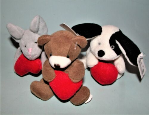 Russ Berrie plush 3pc. set New Valentine mouse, dog and bear holding hearts