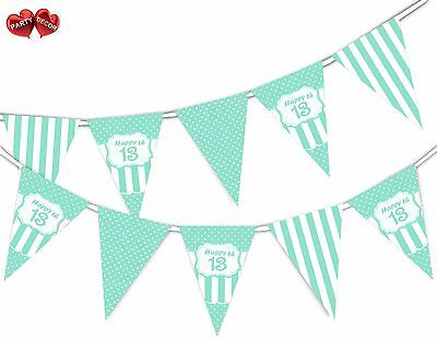 13th Birthday Party Themes (Happy 13th Mint Happy Birthday Anniversary Themed Bunting Banner by PARTY)