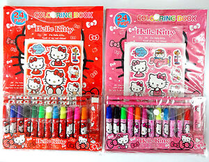 Hello Kitty Colouring Book Felt Tip Pens Drawing Art Markers School Girls Gift