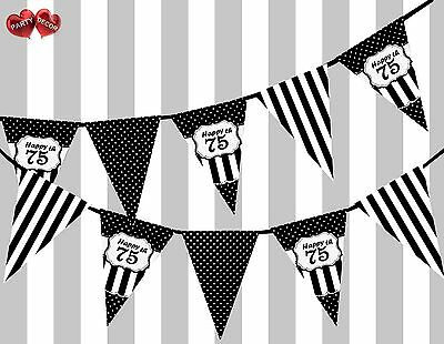Chic Black Happy 75th Birthday Vintage Polka Dots Theme Bunting Banner Party UK - Happy 75th Birthday Banner