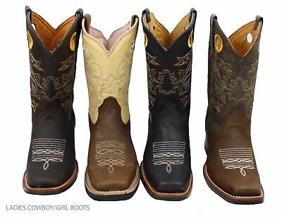 Ladies Genuine Cowhide Leather Western Cow Boy/girl Boots Style-721 Cow Western Boots