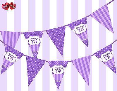 Pretty Purple Happy 75th Birthday Vintage Polka Dots Theme Bunting Banner Party - Happy 75th Birthday Banner
