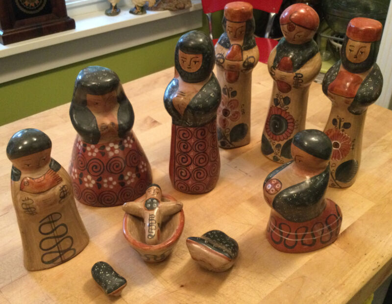 Vintage 11 Pc Tonala Pottery Large Size Christmas Nativity Mexican Folk Art