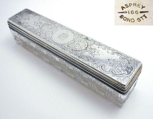 Large Antique Victorian Asprey Sterling Silver Glass Vanity Trinket Box Jar Pot