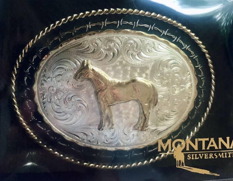 Montana Silversmith Etched Silver Quarter Horse Belt Buckle Rope Barbed Wire