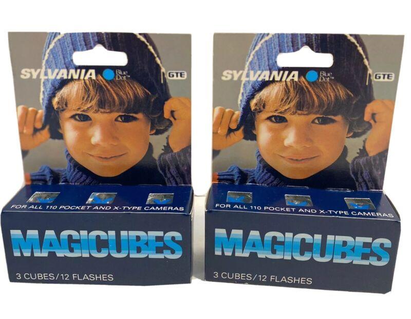Sylvania Blue Dot Magicubes Flash Cubes 110 & X-Type Camera 24 Flashes 6 Cubes