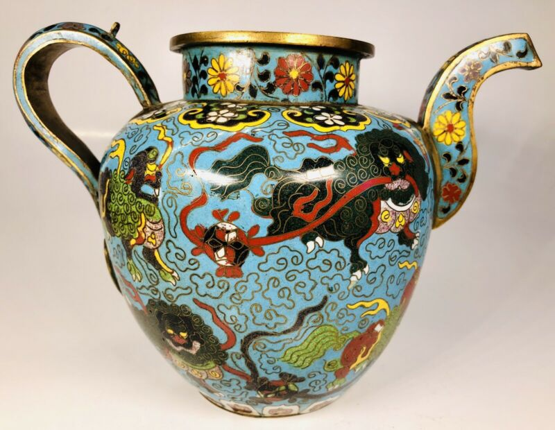 Antique 19th Century Chinese Cloisonne Enamel on Bronze Teapot Missing Top