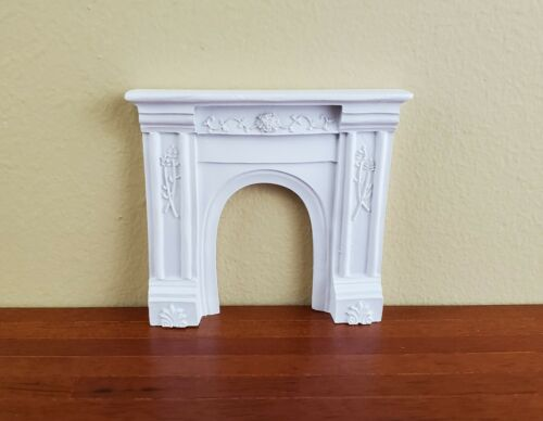 Dollhouse Miniature Fireplace Surround Victorian with Flowers White Arch 1:12