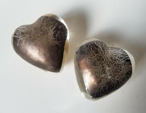 Robert Held Art Glass Paperweight Hearts Pair Of 2 Gold Bronze Leaf Crackle RHAG