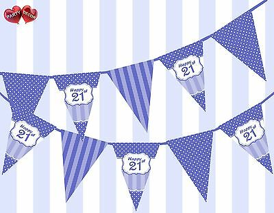 Brilliant Blue Happy 21st Birthday Vintage Polka Dots Theme Bunting Banner - 21st Birthday Theme