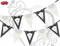 Bride Gown & Groom Tuxedo White Black Silver Bunting Banner 15 Flag 12ft Stylish - party decor - ebay.co.uk