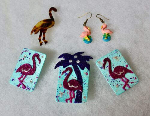 Vintage Original FLAMINGO JEWELRY COLLECTION 3 items - Brooches and Earrings