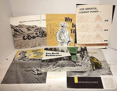 Vintage Lot Of 6 - 1940 Caterpillar Tractor Bulldozer Catalog Sales Brochures