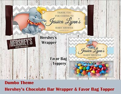 Dumbo Baby Shower Birthday Hershey's Wrapper and Favor Bag Toppers - Dumbo Baby Shower