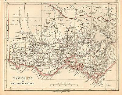 1853 Ca ANTIQUE MAP H/COL LOWRY-AUSTRALIA, VICTORIA OR PORT PHILIP DISTRICT