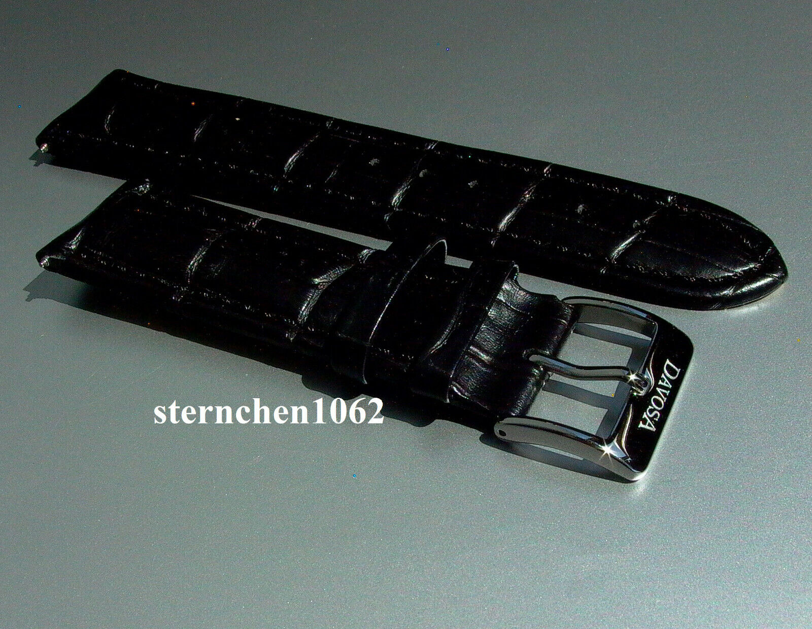 Davosa * Uhrenarmband * Kroko-Print Optik * schwarz * 22 mm