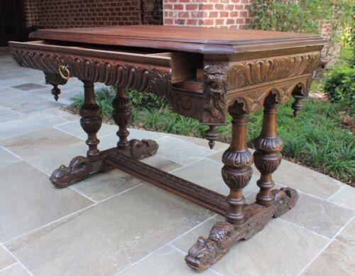Antique French Oak Desk Victorian Renaissance Dolphin Table Bureau Plat Library