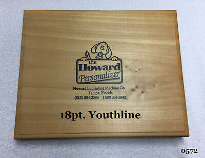 Howard Personalizer Type - 18pt. Youthline - Hot Foil Stamping Machine
