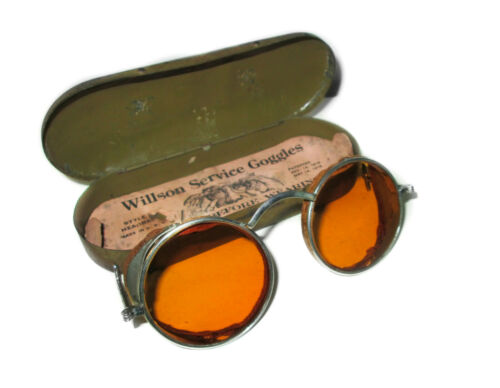 Antique Amber Willson Service Goggles Safety Glasses Vtg Steampunk Spectacles W