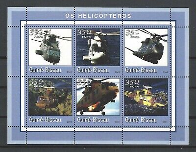 Guinea-Bissau 2001 Mi#1767-72  Helicopters  MNH M/S  $10.35