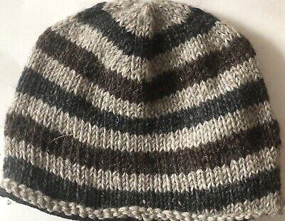 Hand Knitted Skull Hat Cap 100 % Wool With Fleece Lining Wool Skull Cap