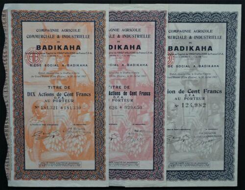 Ivory Coast - Comp.Agricole Comm.& Industrielle de Badikaha - 1927 3x TOP DECO