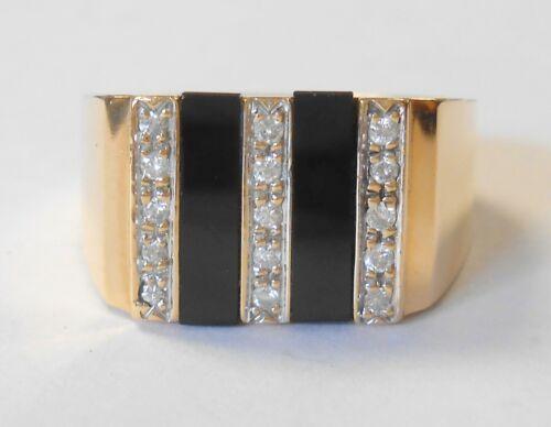 Vintage Mens 14K Yellow Gold Diamond & Black Onyx Bars Wide Heavy Ring Size 10