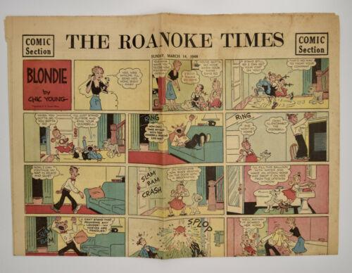 1940s Sunday Comic Strip Newspaper Blondie Popeye Roanoke Virginia Vintage