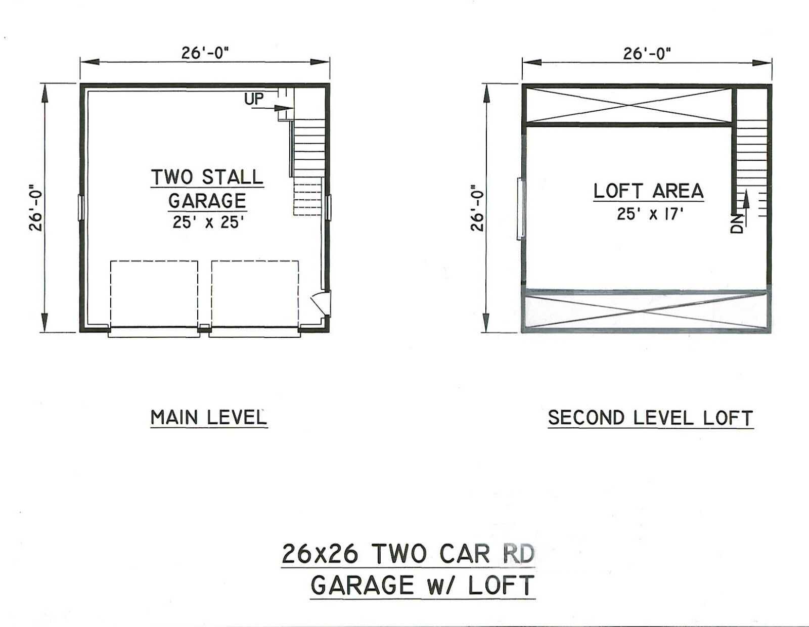 26x26 2 car rd garage building blueprint plans w wkplft