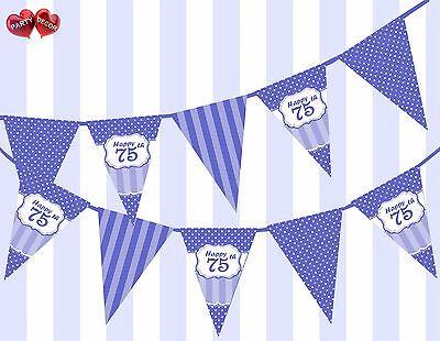 Brilliant Blue Happy 75th Birthday Vintage Polka Dots Theme Bunting Banner Party - Happy 75th Birthday Banner