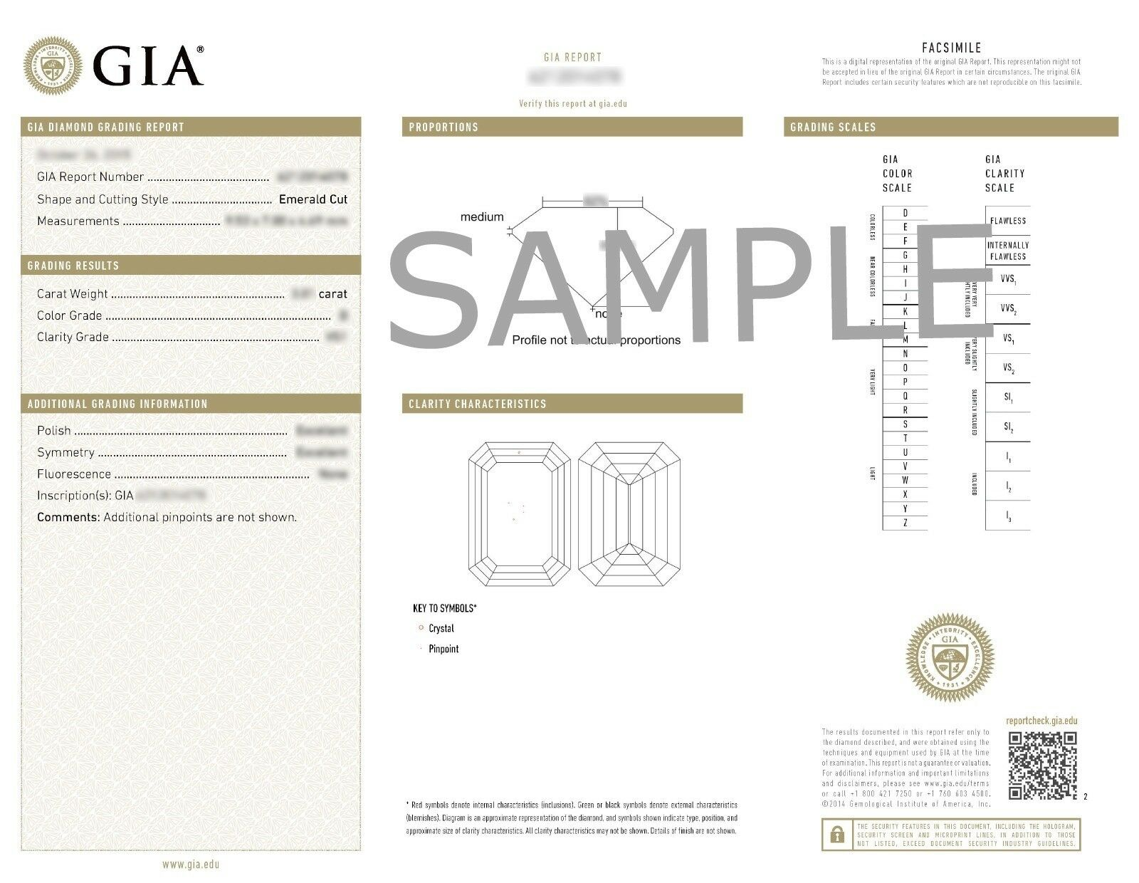 0.82ctw Classic Prong Set Emerald Diamond Engagement Ring GIA G-VVS2 White Gold 3
