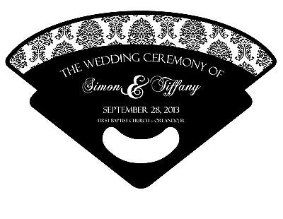 Personalized Custom Wedding/Event Fan Program with Photo, Damask, or any Design