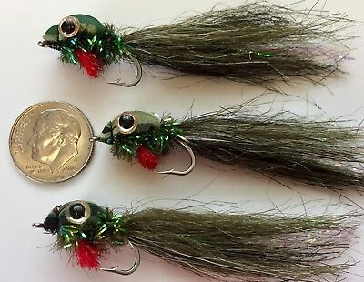 (3) TOP WATER TADPOLE FLIES. FLY FISHING TROUT, BASS. FROG POLLY WOG #6 HOOK  ()