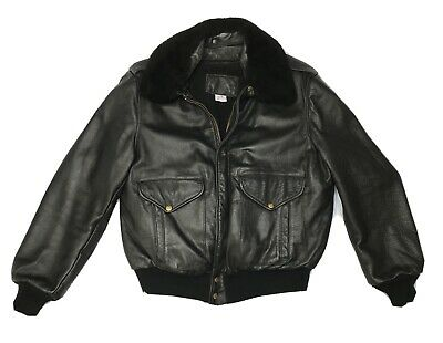 "Branded Garments USA Vintage G-1 Leather Bomber Flight Jacket Black 48 /24"" pit  for sale  Shipping to Ireland"