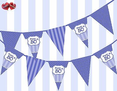Brilliant Blue Happy 50th Birthday Vintage Polka Dots Theme Bunting Banner Party (50th Birthday Party Themes)
