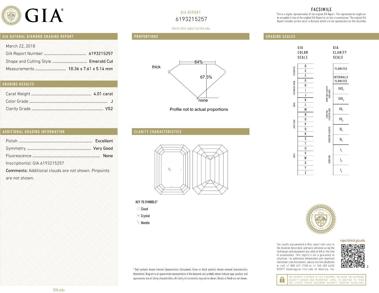 4.50 Ct Emerald Cut Diamond Split Shank Engagement Ring J,VS2 GIA 18K White Gold 2