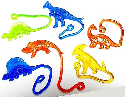 12pc Sticky DINOSAURS birthday party prize pinata Gift Wholesales capsule toys
