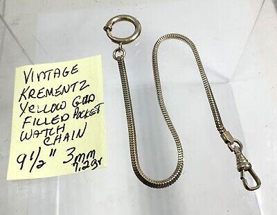 """Vintage Krementz Yellow Gold Filled Pocket Watch Chain 9 1/2"""" 3mm"""