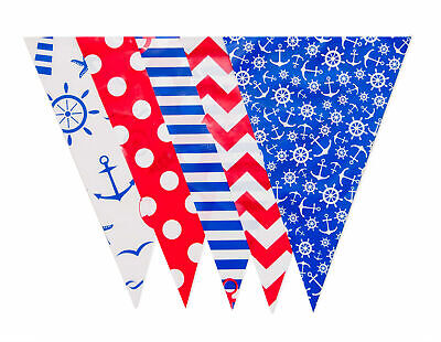 10m Bunting 20 Flag Nautical Red White Blue Coloured Home Navy  First Class Post