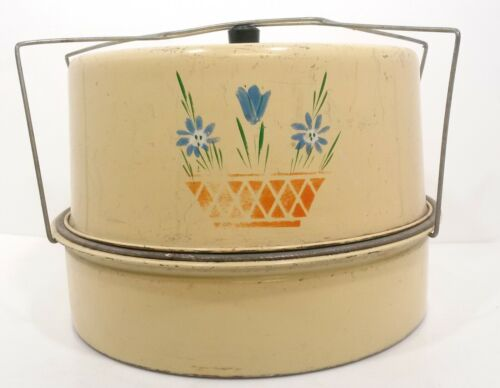 Vintage CARLTON TIN CAKE SAVER CARRIER Double Stack Painted Flowers