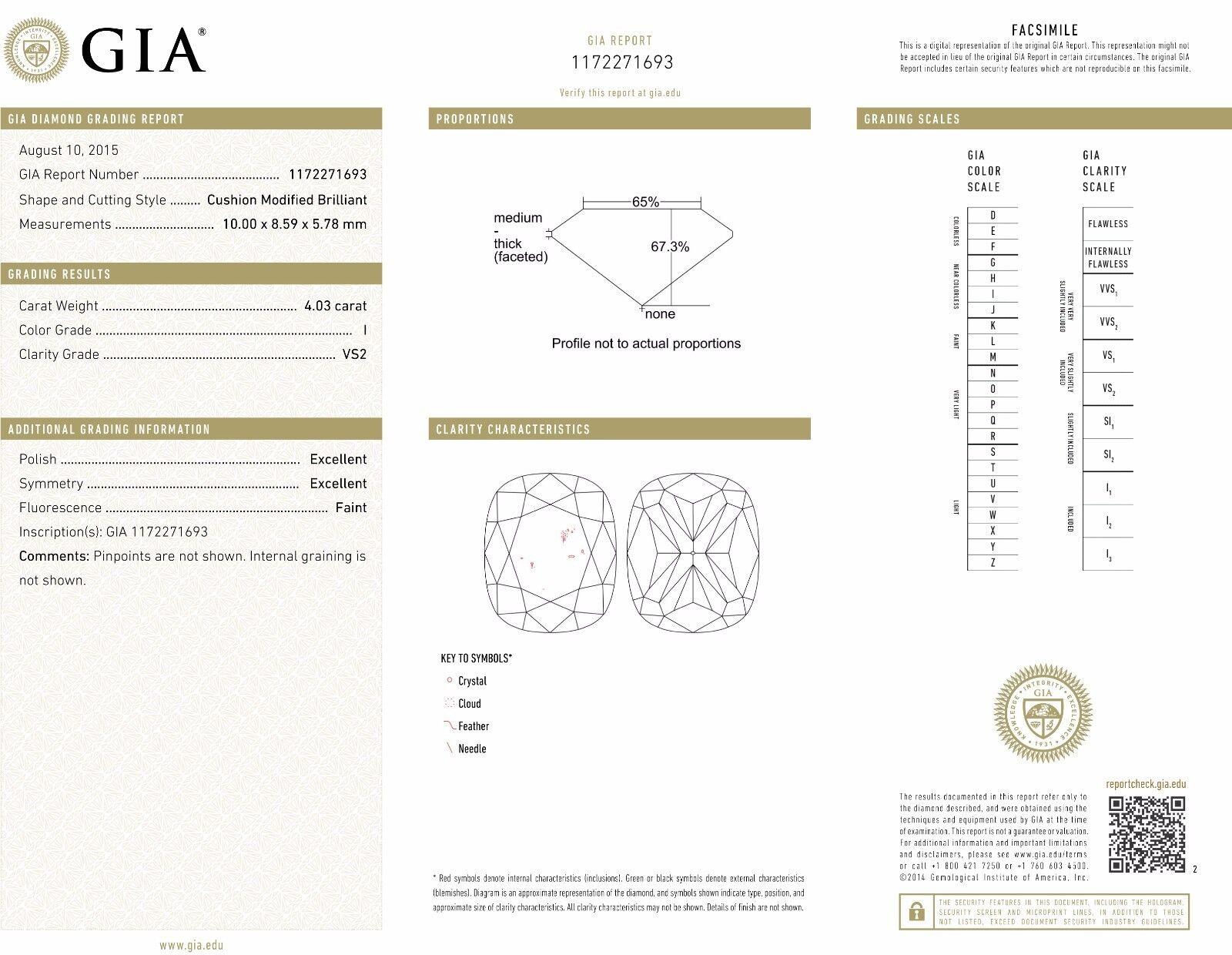 Micro Pave 5.03 Cushion Cut Diamond Halo Pave Engagement Ring I,VS2 GIA Platinum 2