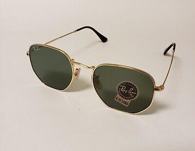 Ray-Ban Sunglasses Hexagonal RB3548 Golden Frame Green G15 Lens.